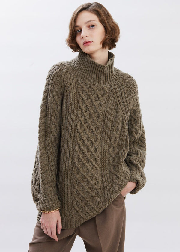 Mock Neck Fisherman Sweater in Oak Sweater Paper Moon