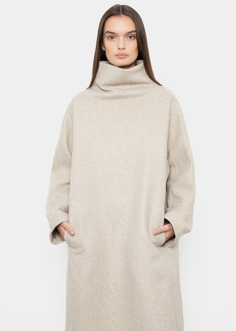 Mock Wool Felt Dress in Oatmeal Marl Dress Statement