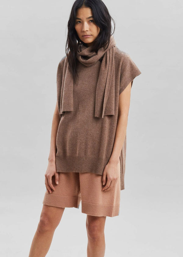 Monbasa Cashmere Scarf Sweater by Loulou Studio in Mocha Melange Sweater Loulou Studio