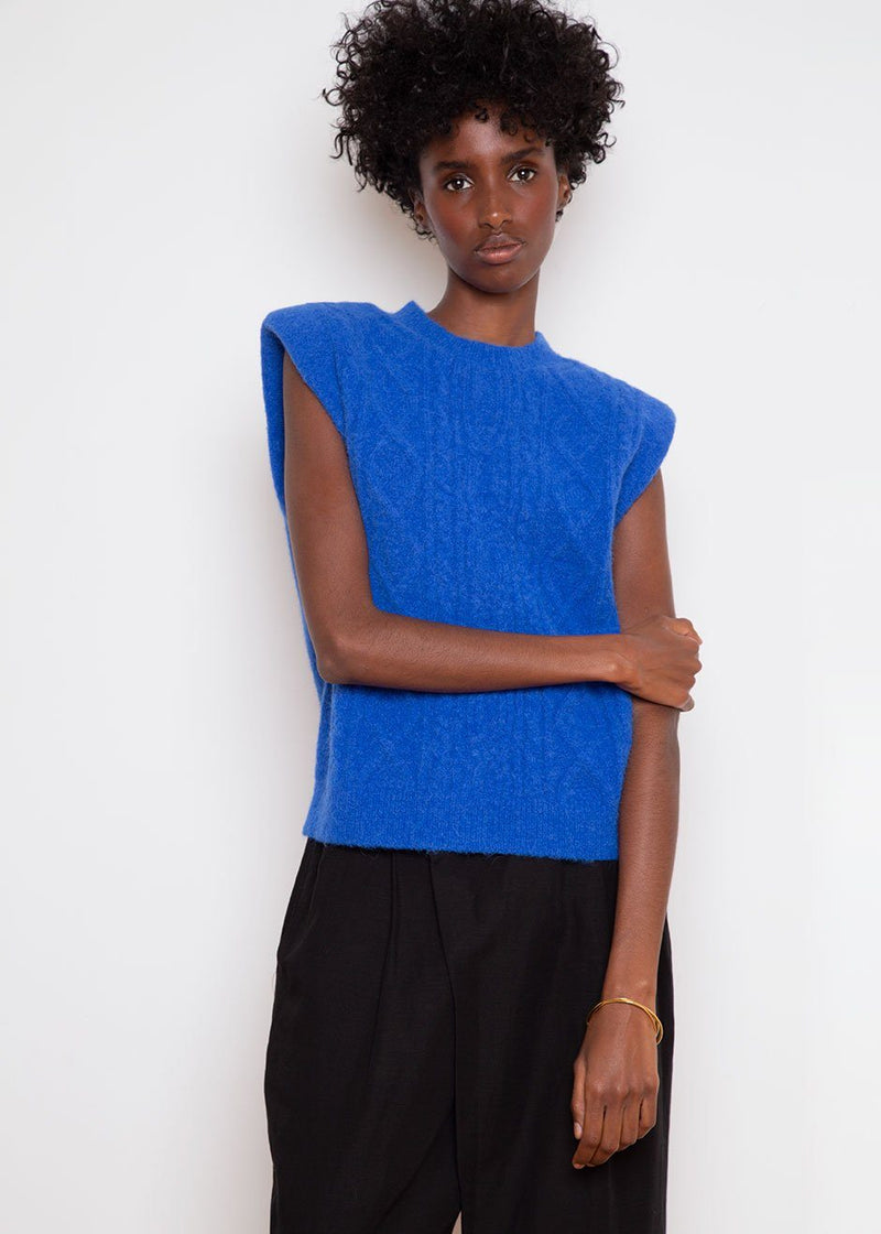 Morris Sleeveless Knit Pullover by Les Coyotes de Paris in Lapiz Blue Top Les Coyotes de Paris
