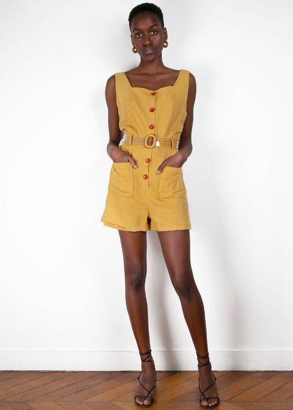 Mustard Buttoned Romper with Clear Belt Romper Jerry Hall