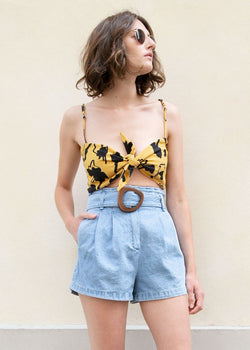 Mustard Floral Print Bandeau Top Top Female BR