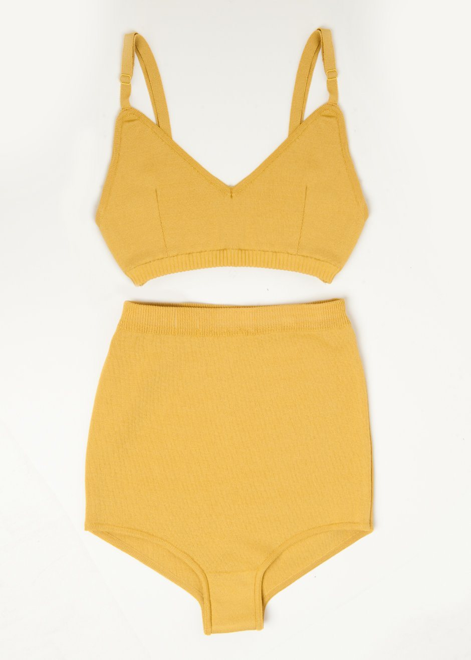 Mustard Knit Two-Piece Swimsuit