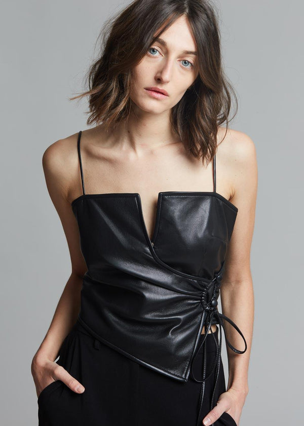 Nanushka Cosimo Vegan Leather Top in Black Top Nanushka