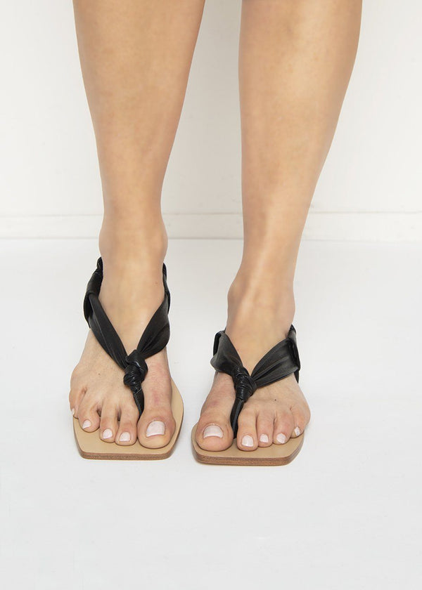 Nanushka Geisha Vegan Leather Sandal in Black Shoes Nanushka