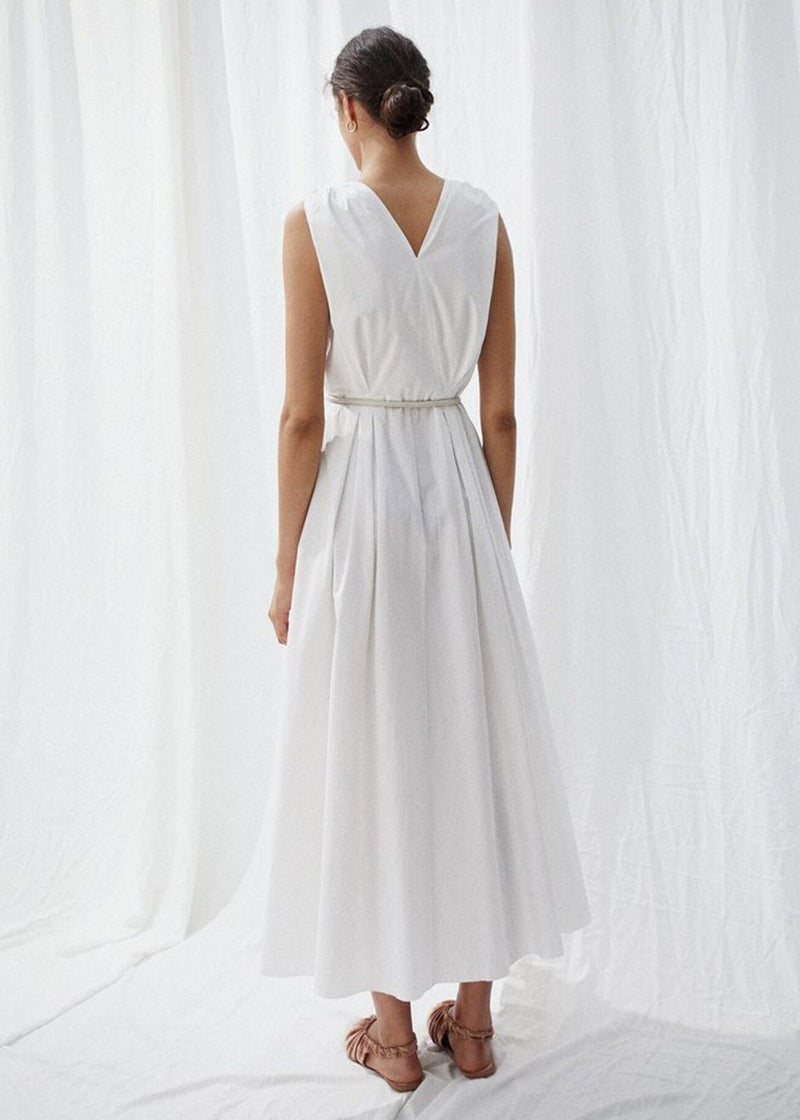 Nanushka Lilith Sleeveless Belted Dress in White Creme Dress Nanushka