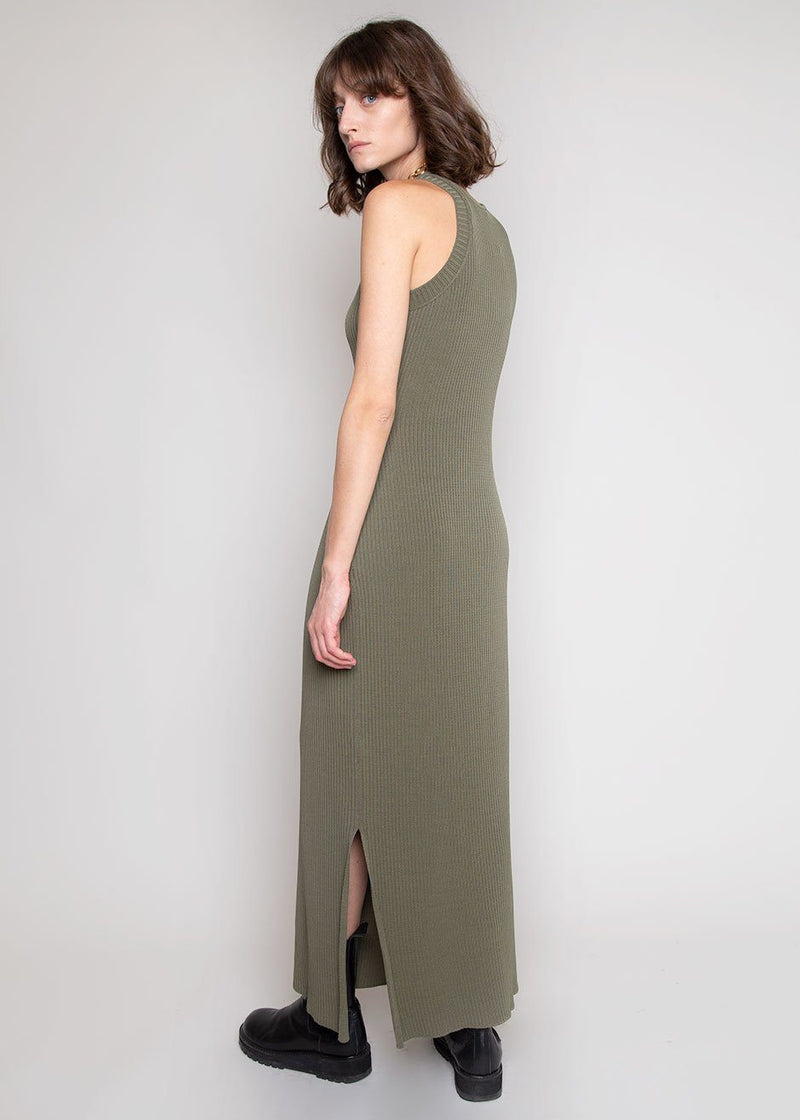 Natsumi Side Slit Asymmetric Dress by Áeron in Khaki Dress Aeron