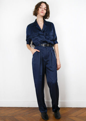 Navy Silky Relaxed Pants Pants Ready 2 Wear