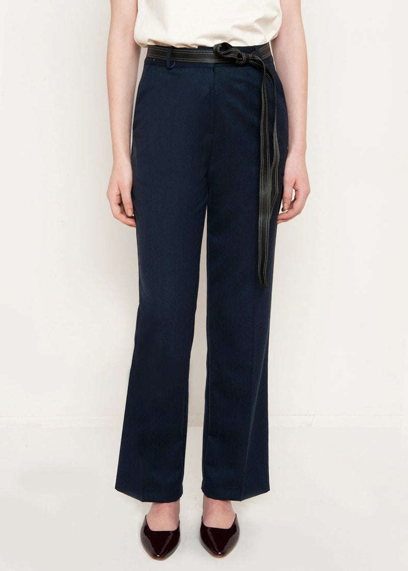 Navy Soft Belted Trousers Pants EBONY EYES