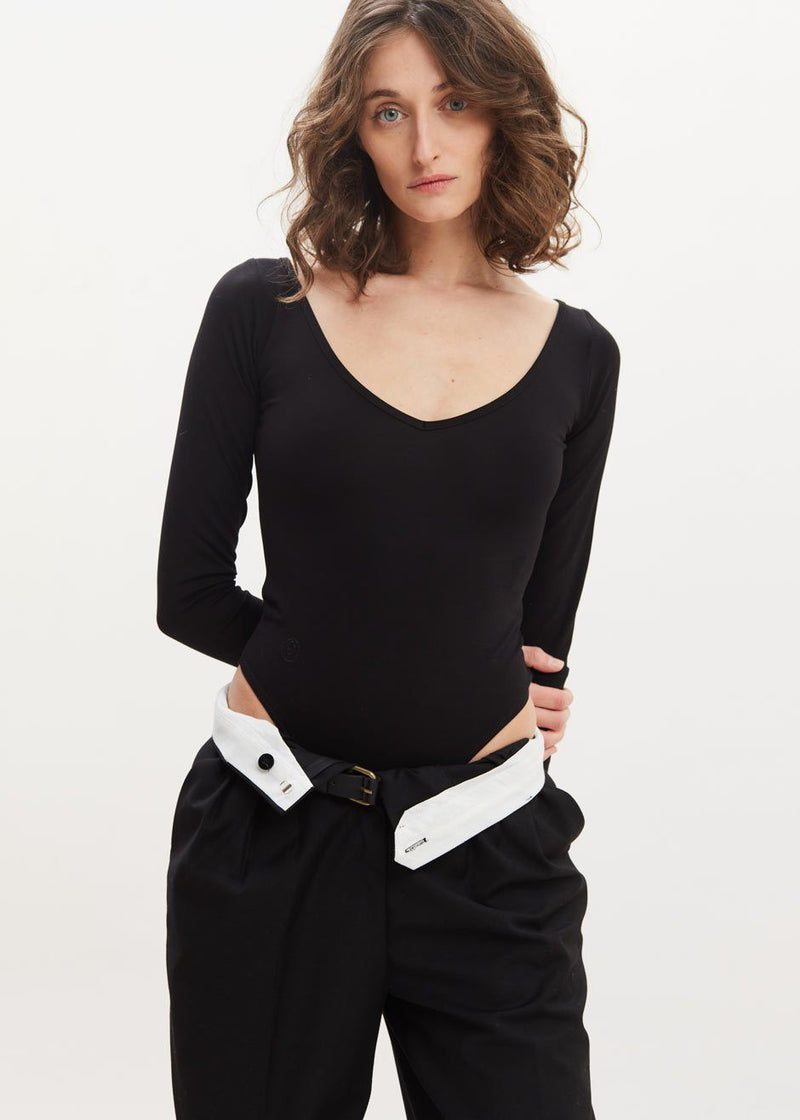 Nicole Long Sleeve Bodysuit by Remain Birger Christensen in Black bodysuit Remain