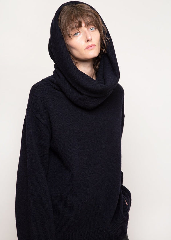 Noemie Oversized Cowl Sweater in Navy Sweater The Frankie Shop