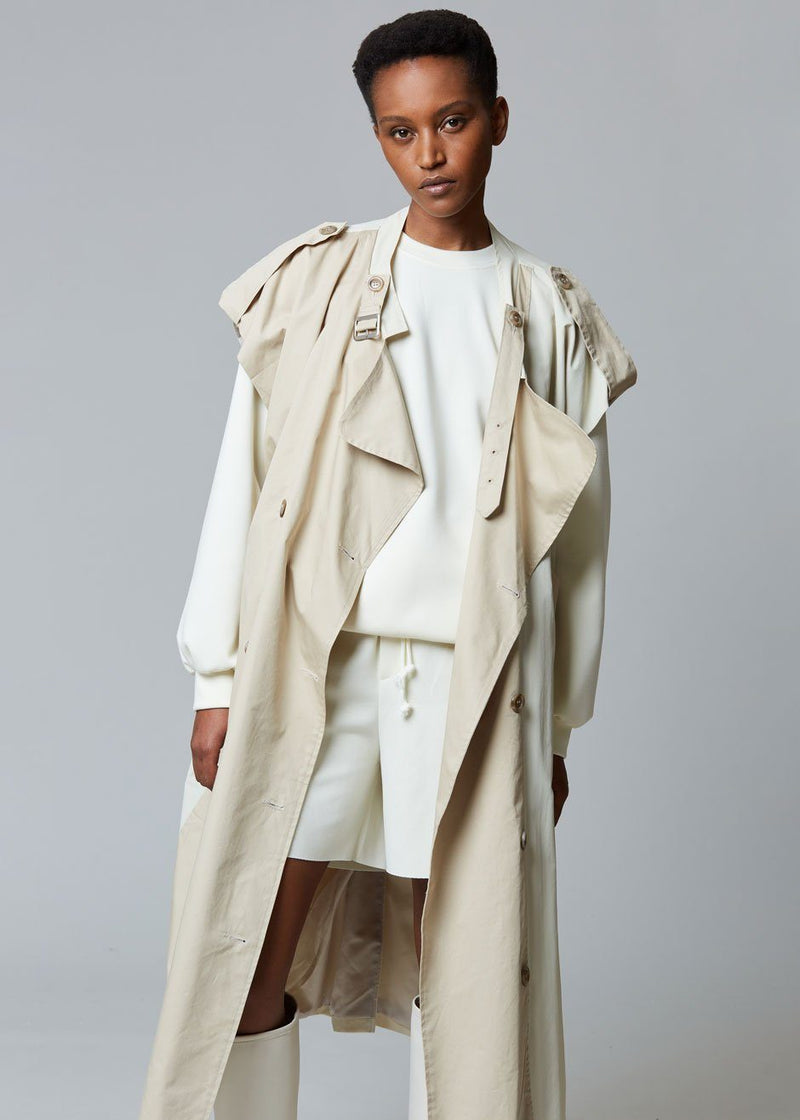 Nola Two Tone Sleeveless Trench in Sand/Shell Coat Echo Party