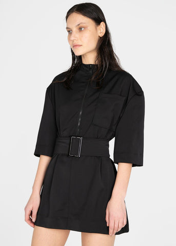 Nylon Belted Mini Dress by Studio Cut- Black Dress Studio Cut