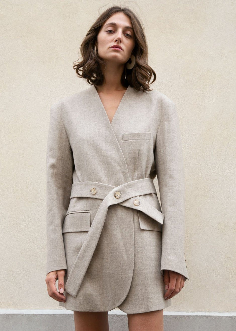 Oat Wool Blazer Dress- Beige Blazer The Frankie Shop