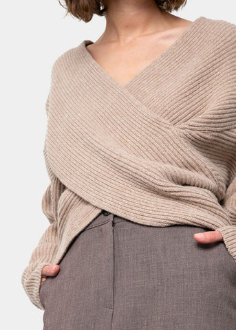 Oatmeal Ribbed Criss Cross Sweater Sweater 2two moon