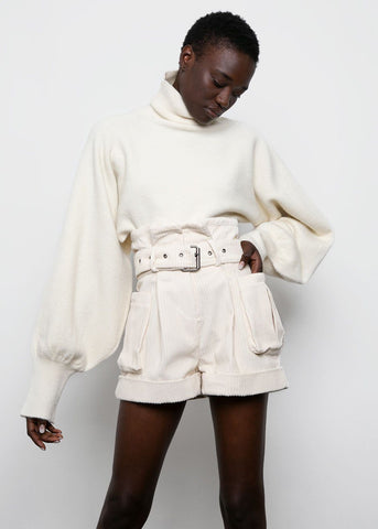 Off-White Corduroy Belted Paperbag Shorts Shorts Beside You