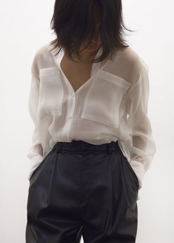 Off White Sheer Button Blouse Shirt Bar
