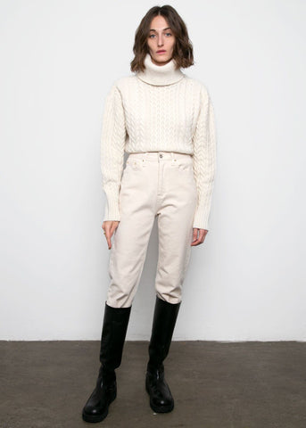 Off-White Turtleneck Cable Knit Sweater Sweater Blossom