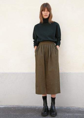 Olive Cotton Pleated Slit Skirt Skirt Beside You