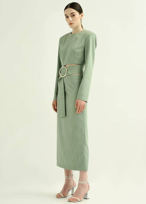 Olive Cut Out Belted Dress by Materiel Tbilisi dress Materiel Tbilisi