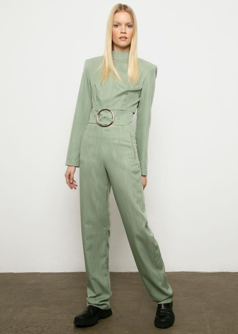 Olive Cut Out Belted Jumpsuit by by Materiel Tbilisi jumpsuit Materiel Tbilisi