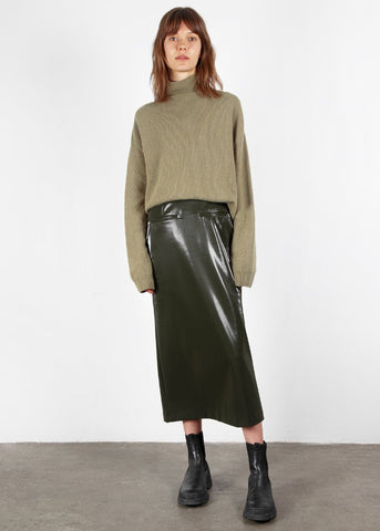 Olive Gloss Midi Skirt Skirt mission bay