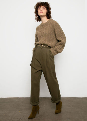 Olive Green Belted Brushed Cotton Pants Pants Blossom