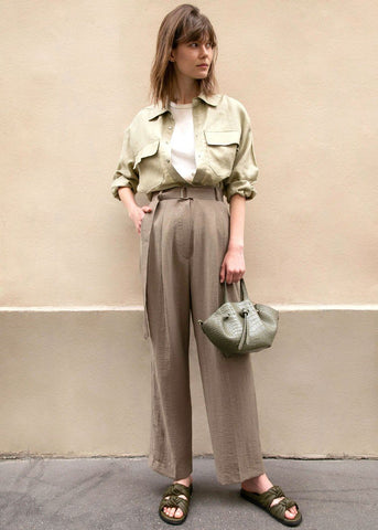 Olive Green Pleated Belted Pants Pants Blossom