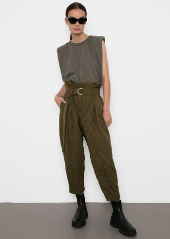 Olive Quilted Paperbag Pants Pants By Flow
