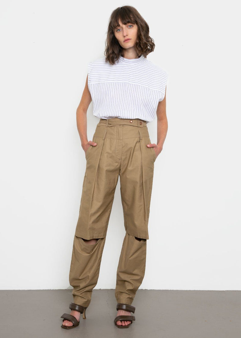 Olyvia High Rise Open Knee Pants by Covert in Khaki Pants Covert