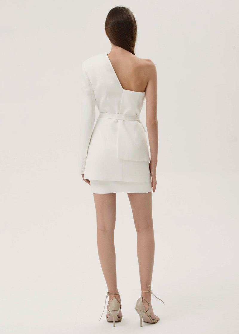 One Shoulder Belted Blazer by Materiel Tbilisi- White Blazer Materiel Tbilisi