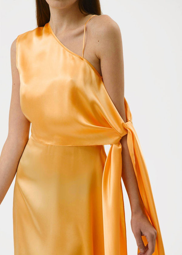 One Shoulder Silk Dress by Materiel Tbilisi in Orange Dress Materiel Tbilisi