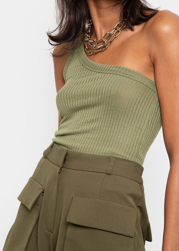 One Shoulder Tank Top in Moss Green Top Cafe Noir