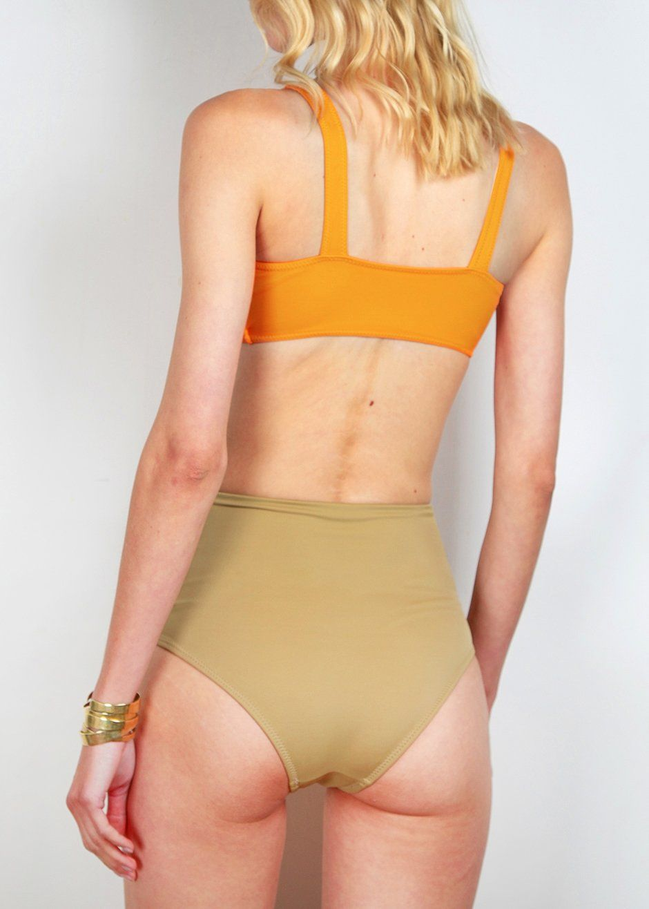 Orange and Brown 2 Piece Swimsuit