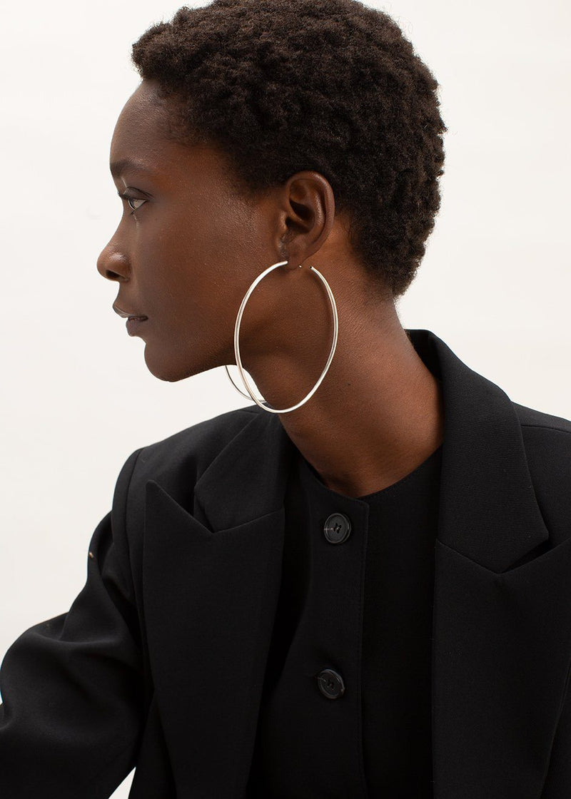 Ovaali Hoops by Fay Andrada in Silver Earrings Fay Andrada