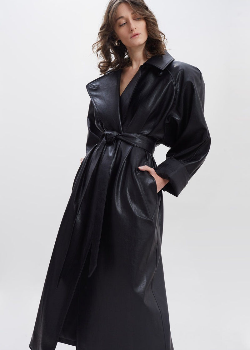 Oversized Box Shoulder Faux Leather Trench in Leather Coat Paper Moon