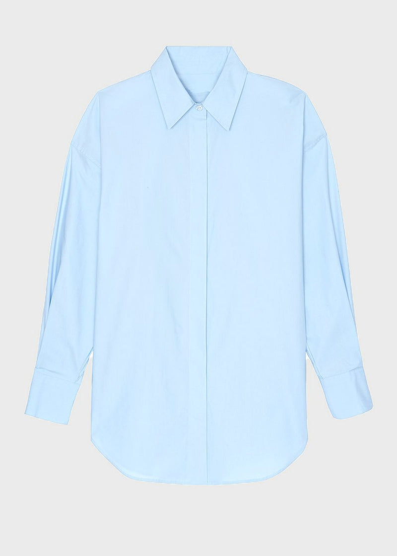 Oversized Button Down Shirt in Sky Blue Shirt Stage