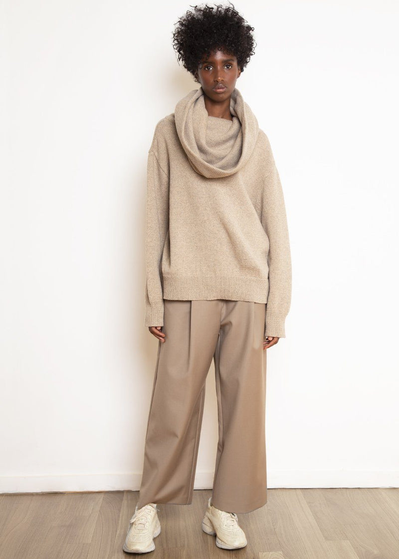 Oversized Cowl Sweater in Sand Dune Sweater The Frankie Shop