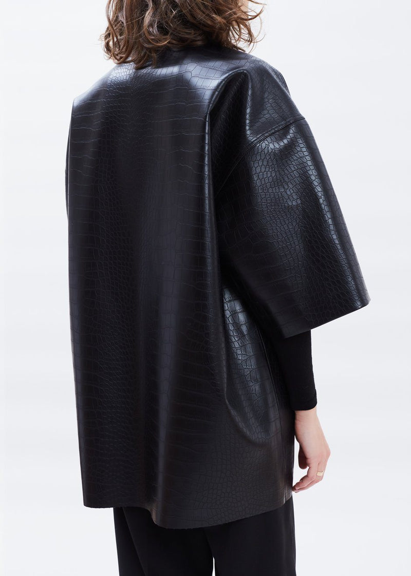 Oversized Croc Embossed Pocket Shirt in Black Top Paper Moon