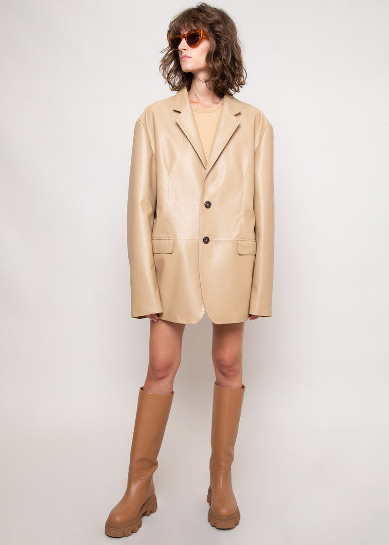 Oversized Faux Leather Blazer in Butter Blazer The Frankie Shop