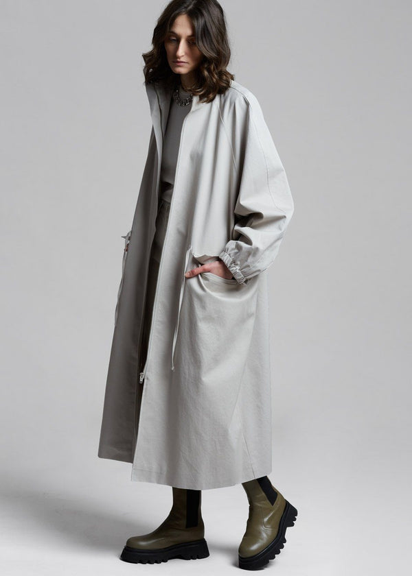 Oversized Long Anorak Parka in Feather Grey Coat Alive Industry