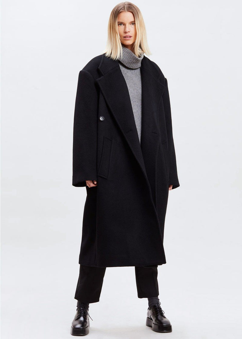 Oversized Padded Shoulder Wool Coat in Black Coat Paper Moon