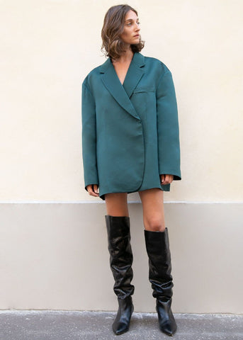 Oversized Satin Blazer in Forest Green Blazer The Frankie Shop