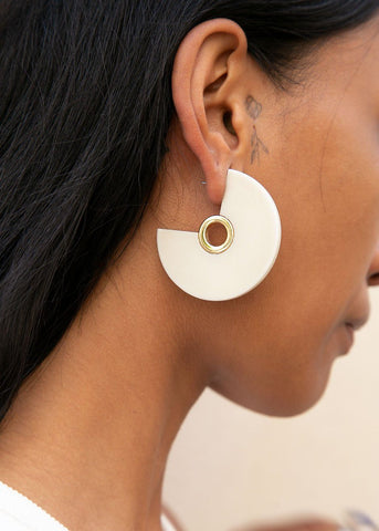 Pac Eyelet Hoop Earrings in Bone by Rachel Comey Earrings Rachel Comey