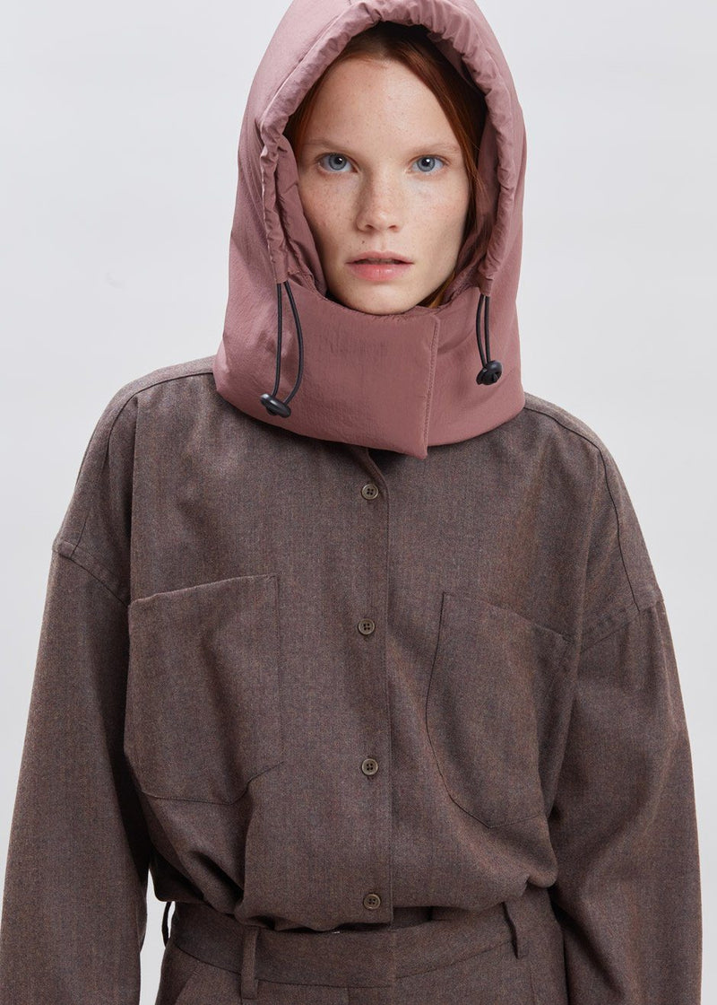Padded Nylon Hood by KASSL Editions in Red Clay Hat KASSL Editions
