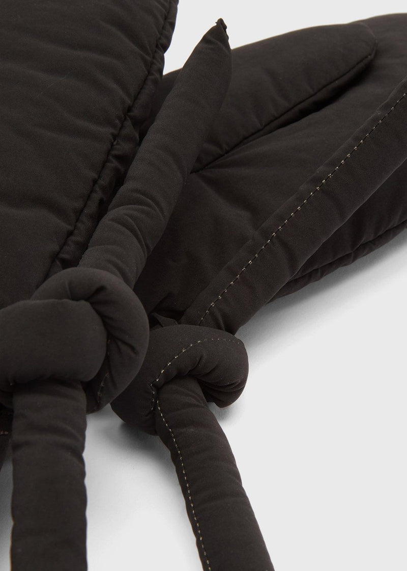 Padded Nylon Mitten Gloves by KASSL Editions in Oil Velvet Black Gloves KASSL Editions