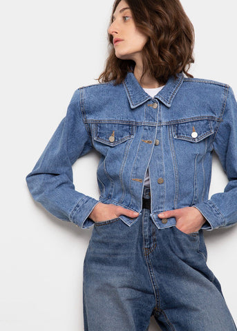 Padded Shoulder Cropped Denim Jacket- Blue Jacket The Frankie Shop