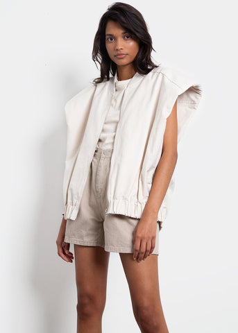 Padded Shoulder Zip Vest in Beige Vest Find.J