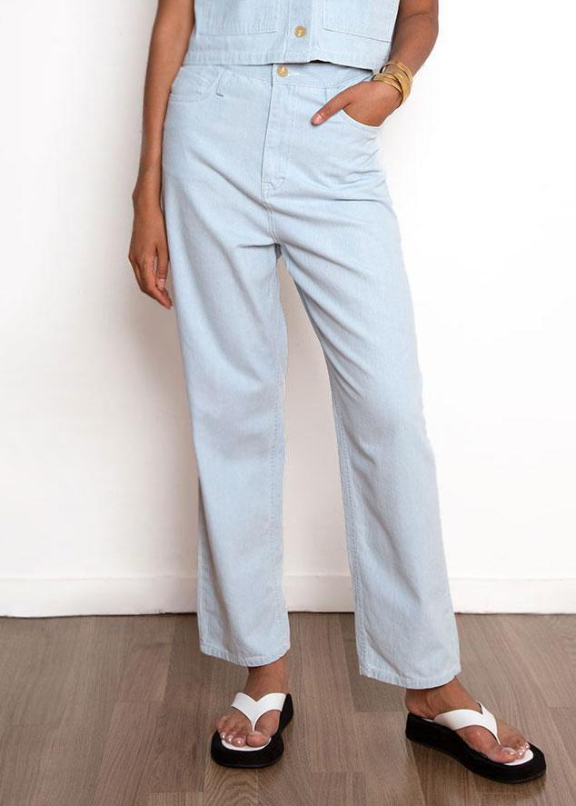Pale Blue Denim Belted Pants Pants Cafe Noir