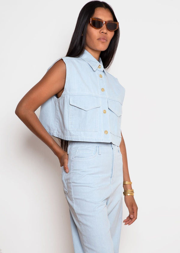 Pale Blue Denim Cropped Vest Top Top Cafe Noir